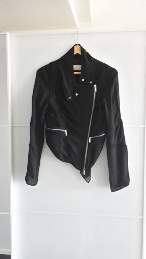 Karen Millen Biker Jacke Seidenjacke Moto schwarz transparent kurz EU 36 UK 8