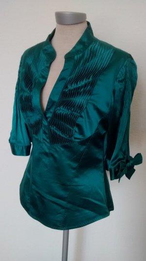 Karen Millen Bluse Seide Seidenbluse grün Gr. UK 12 EUR 40 Designer