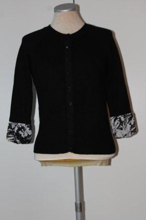 Karen Millen Cardigan Strickjacke Gr. 34 XS schwarz weiß 3/4 Arm Chiffon