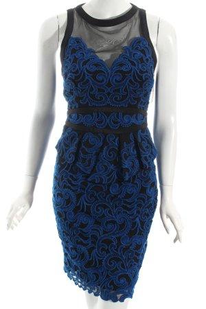 KAREN MILLEN Cocktailkleid schwarz-blau Ornamentenmuster Elegant