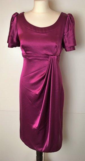 * * KAREN MILLEN * edeles MIDI KLEID purpur magenta COCKTAIL Empire Abendkleid Gr 40 M L ( US 8 Uk 12 )