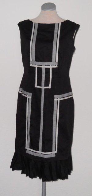 Karen Millen Etuikleid Kleid knielang grafik schwarz weiß grau 40 42 M L UK 14