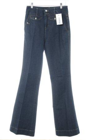 KAREN MILLEN Jeansschlaghose dunkelblau-sandbraun Casual-Look