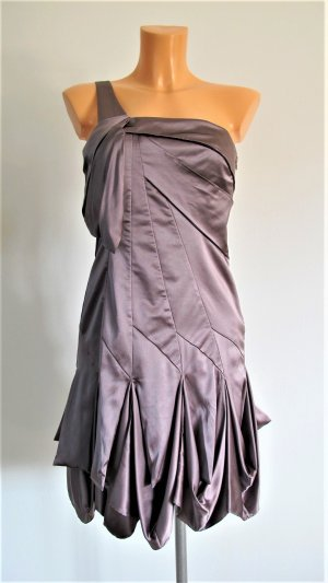 KAREN MILLEN One Shoulder Dress grey lilac-mauve silk