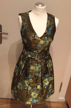 Karen Millen Kleid Gr. 36/38 NEU Khaki mit Blumenmuster