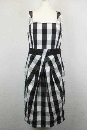 Karen Millen Kleid Trägerkleid Midikleid Gr. 42 schwarz weiß kariert tailliert