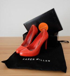 KAREN MILLEN Platform Pumps neon orange leather