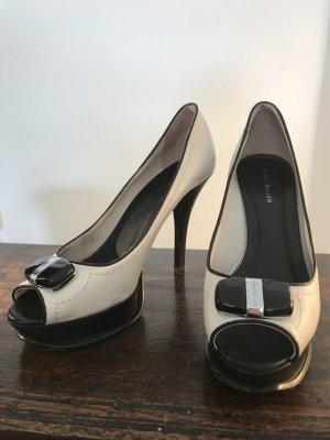 Karen Millen Offene Schuhe Schwarz-Weiss