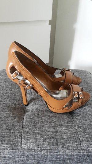 Karen Millen Peeptoes Schuhe High Heels Pumps Plateau cognac braun 38.5 Leder