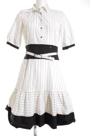 KAREN MILLEN Petticoatkleid wollweiß-schwarz Nadelstreifen 50ies-Stil