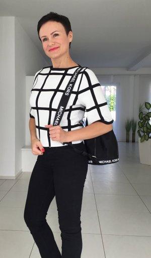 KAREN MILLEN Sweater met korte mouwen wit-zwart