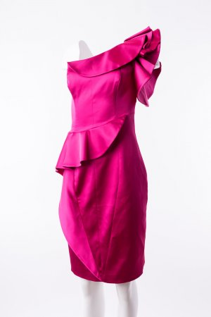 KAREN MILLEN - Satinkleid Rüschen Pink