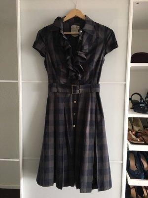 Karen Millen Shirtkleid Kleid Vichy Gingham Karo kariert Rüschen 34 36 8 blau grau