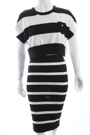 KAREN MILLEN Strickkleid schwarz-weiß Streifenmuster klassischer Stil