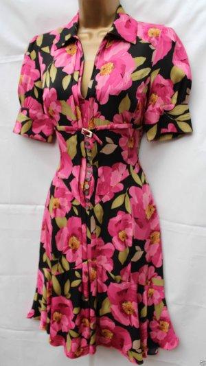 KAREN MILLEN Süßes Vintage 40s Style Floral Print Seide Tea Dress Size 8 UK