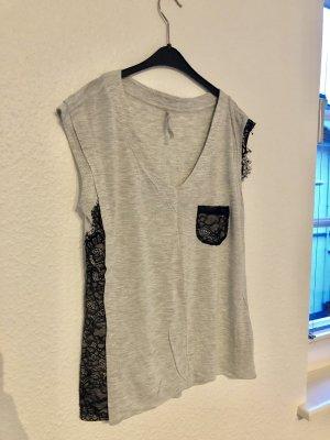 Karen Millen T-Shirt Shirt Blogger Bluse xs 34 spitze bluse schwarz grau spitzenborte