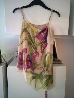 Karen Millen top Chiffon beige pink Perlen grün Gr M