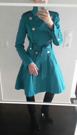 Karen Millen Trench Coat Mantel im Military Stil UK 10 EU 38 D 36 türkis blau
