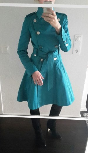 Karen Millen Trench Coat Mantel im Military Stil UK 10 EU 38 D 36 türkis blau