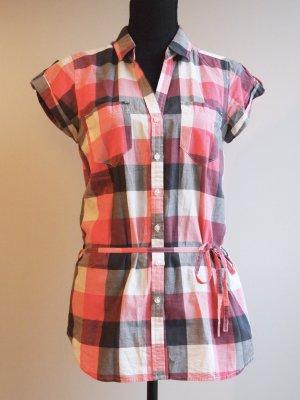 Karierte Bluse mit Gürtel weiß / pink / rosa / blau