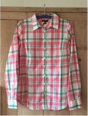 karierte Bluse, weiß/pink/grün, Gr. 4, XS, Tommy Hilfiger