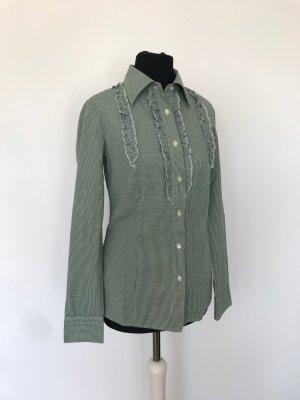 karierte grün-weiße Benetton Bluse mit Rüschen