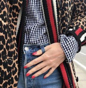 Karierte Hemdbluse von Zara mit V-Ausschnitt und Kragen S Karos