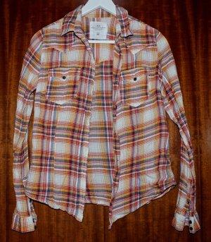karierte, rot-/orangefarbene Bluse/Hemd von H&M