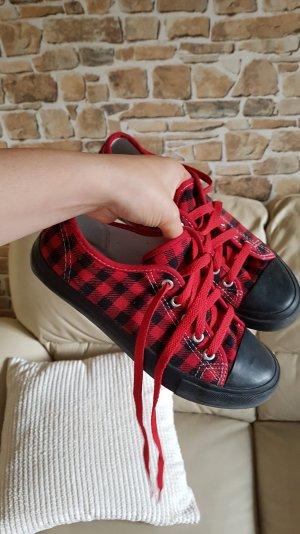 Karierte Schuhe gr 37 rot schwarz