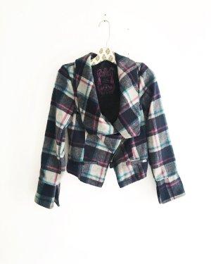 karierte wolljacke / vintage / blau weiss pink / blazer