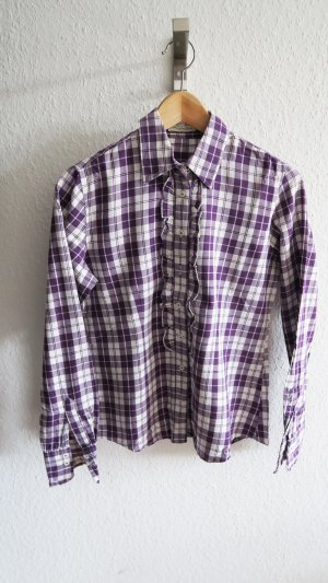 Christian Berg Ruche blouse wit-donkerpaars