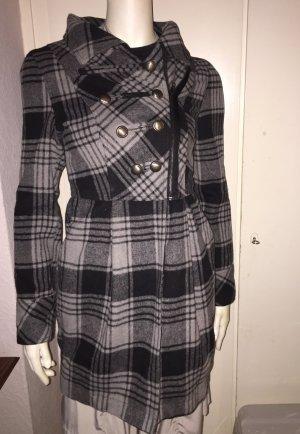 Karierter Mantel grau/schwarz