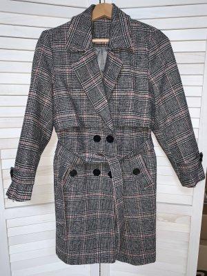 Karierter Mantel Mantelkleid Grau Rosa Gr. 36 Small Preppy Style