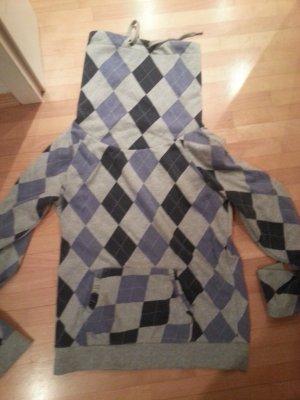 Karierter Pullover Hoodie Blau Grau Gr. S