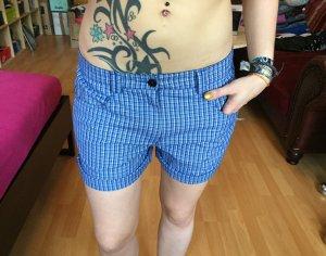 Karierter Stoff Shorts Blau/schwarz M