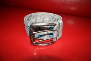 Fenchurch Fabric Belt light grey-turquoise textile fiber