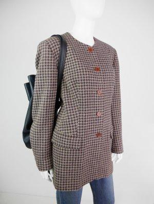 Karierter Vintage Blazer mit rundem Kragen