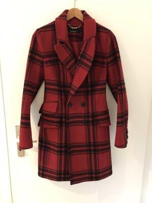 KAREN MILLEN Abrigo de lana rojo oscuro-negro