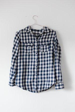 Kariertes Baumwollhemd dunkelblau