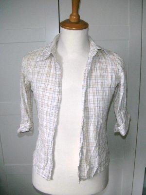 kariertes Hemd, Bluse, weiß-beige, H&M, Gr. 34