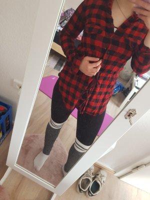 Tally Weijl Camicia da boscaiolo nero-rosso
