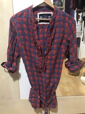 Zakelijk overhemd karmijn-blauw
