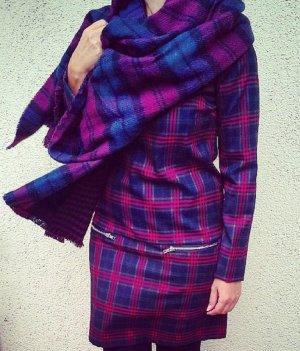 Kariertes Kleid mit Fake Taschen und Zipper
