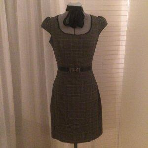 Kariertes Kleid mit Puffärmel und Zierspitze, Rockabilly-Style, S/ 36/ 38