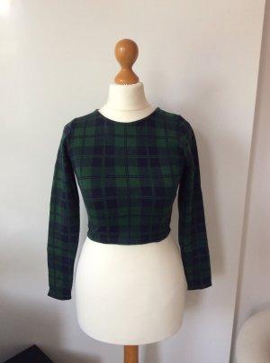 Pull & Bear Camicia cropped verde scuro-blu scuro