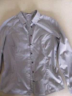 Kariertes Langarm-Hemd in Schwarz/Weiß | körpernaher Schnitt