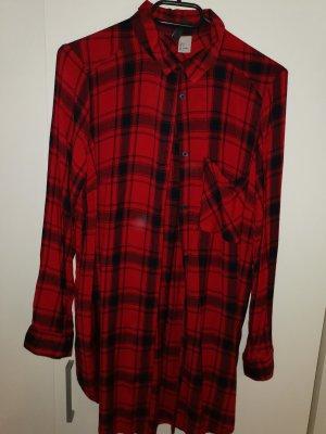 H&M Vestido tipo blusón negro-rojo