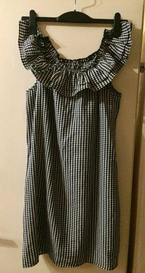 H&M Off the shoulder jurk zwart-wit