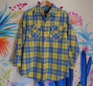 Reclaimed Vintage Camisa de manga larga amarillo-azul aciano Algodón