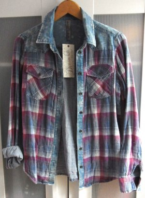 Kariertes weiches Flanell Jeans Materialmix Hemd